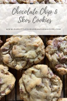 Chocolate Chip and Skor Cookies - Our Little Suburban Farmhouse These are probably one of my most requested recipes. People go nuts for these things, and I have to admit they are pretty delicious! Köstliche Desserts, Delicious Desserts, Dessert Recipes, Yummy Food, Layered Desserts, Chocolate Chip Cookies, Chocolate Chips, Peanut Butter Chip Cookies, Doterra