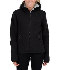 Look what I found on #zulily! Black Hooded Sherpa Fleece Jacket - Plus Too #zulilyfinds