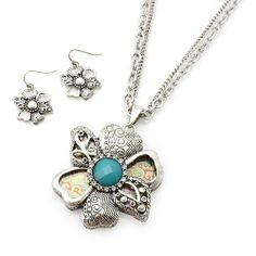 """Pendant Necklace Set; 18"""" L; Burnished Silver Metal; Turquoise Center Stone; Clear Rhinestone; paisley print; Flower Pendant; Lobster Clasp Closure; Matching Earrings; Eileen's Collection. $24.99"""