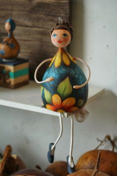 Coleção bonecas 2014 Paper Mache Crafts, Clay Crafts, Diy And Crafts, Arts And Crafts, Decorative Gourds, Hand Painted Gourds, Paper Dolls, Art Dolls, Clay Dolls