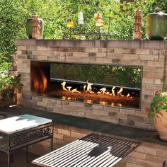 White Mountain Hearth By Empire Carol Rose Vent Free Propane Gas Outdoor Linear See-Through Fireplace W/ Manual Electronic Ignition & LED Light System - : Ultimate Patio Outdoor Gas Fireplace, Linear Fireplace, Outdoor Fireplace Designs, Backyard Fireplace, Outside Fireplace, Fireplace Ideas, Electric Fireplace, Outdoor Rooms, Outdoor Living