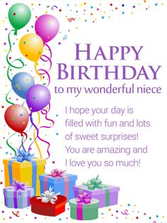 Best birthday wishes for niece quotes cards 23 ideas Happy Birthday Niece Wishes, Birthday Cards For Niece, Happpy Birthday, Birthday Wishes And Images, Birthday Wishes Quotes, Happy Birthday Pictures, Happy Birthday Messages, Happy Birthday Greetings, Birthday Images