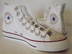 Rhinestone Converse With Ribbon Shoelaces By