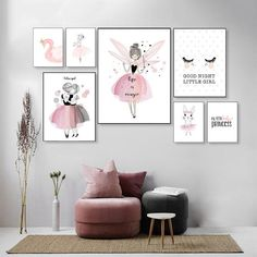 Buy Nordic Babykamer Poster Cute Baby Girl Room Decor Cuadros Decoracion Salon Girls Canvas Art Painting Posters And Prints Unframed Baby Girl Room Decor, Baby Bedroom, Baby Decor, Bedroom Decor, Room Baby, Nursery Canvas, Canvas Art, Decorating With Pictures, Decoration Pictures