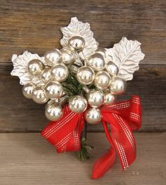Vintage Christmas Corsage mercury glass by phoebestreasurechest, $12.95