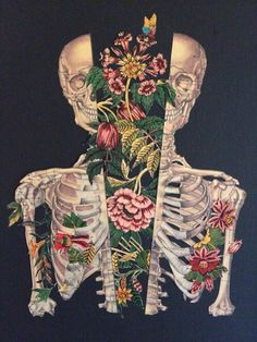 I am in love with the colours of this pieces and love how the flowers look with the skeleton. this piece is by Travis Bedel