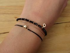 Black and Gold Bracelet Daisy Charm Bracelet by cocolocca on Etsy