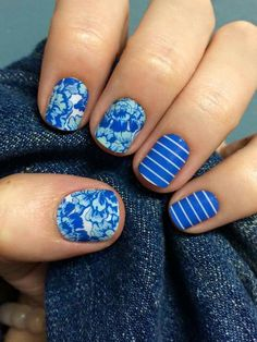 I love mixed manicures:  #PrepSchoolJN and #SomethingBlueJN #Jamberry