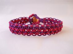Dark Pink & Purple Hemp Bracelet by PeaceLoveNKnottyHemp on Etsy, $12.00