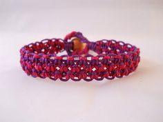 Dark Pink & Purple Hemp Bracelet by PeaceLoveNKnottyHemp on Etsy, $12.00