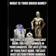 Leave your #droid name in the comments and tag your friends to discover theirs #starwars by jedinewsuk