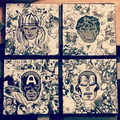 Marvel Avengers collage 4 piece Handcut paper and acrylic on stretched canvas 12x12  2015 Loveandtheart - Nicole Ducharme  www.facebook.com/loveandtheart Stretched Canvas, Marvel Avengers, My Arts, Collage, Facebook, Paper, Collage Art, Collages, Colleges