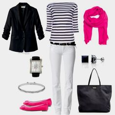 Pink, black, & white outfit