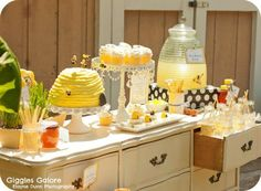 """Just BEE-cause Tea Party. shoot forget the kids on this party. this would be cute for a girls day party """"just BEE-cause"""" Mojito, Lemonade Bar, Bee Theme, Shower Party, Shower Favors, Bridal Shower, Birthday Parties, Birthday Ideas, Picnic Parties"""