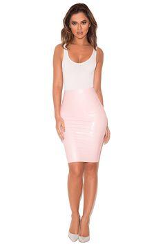 Clothing : Skirts : 'Sofia' Baby Pink Latex Pencil Skirt