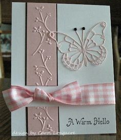 """Memory Box Butterfly by myrna"" Like the airiness of this, light, pretty and pink."