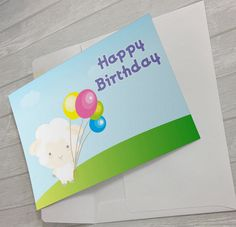 Cute Sheep Printable Birthday Card #HappyBirthday #BirthdayCard #CuteBirthdayCard #FunnyBirthdayCard #Kawaii