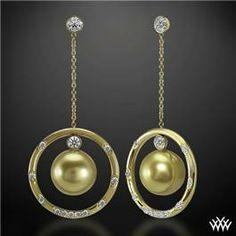 """""""Golden Pearl and Champagne"""" Diamond Earrings #Whiteflash #MarkSchneider #DesignerRings"""