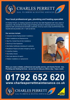 If you need a commercial or domestic gas registered and industry expert plumbing service in Wales then call Charles Perrett Gas Plumbing & Heating today on 01792 652620!