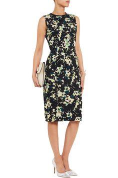 ErdemPrinted stretch cotton-ponte shift dress