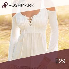 Cold shoulder lace up Pretty and feminine lace up cold shoulder has slight bell shaped sleeve and empire waist trimmed in lace poly /cottn blend knit Tops