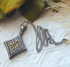 Unique Vintage Artisan 14K Gold Oxidized Sterling by bijoullery