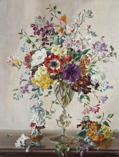 Albert Williams (British, b. 1922) - Still life of flowers and a porcelain figurine