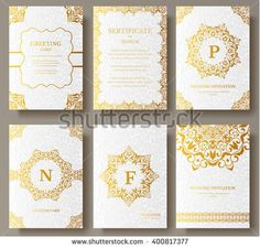 Set of Luxury Gold artistic pages set with logo brochure template. Vintage art identity,  floral card, magazine. Traditional, Islam, arabic, indian. Decorative retro greeting card or invitation design