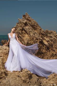 nurit hen 2016 sleeveless deep vneck sheath lace wedding dress (sw16) mv