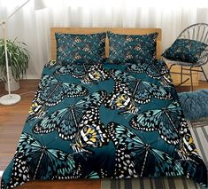 Retro Butterflies Bedding Set Clean Design, 3d Design, Butterfly Bedding Set, Bed In A Bag, Cotton Duvet, Gifts For Teens, Beautiful Patterns, Duvet Cover Sets, Bedding Sets