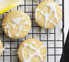 Lemon biscuits recipe - Recipes - BBC Good Food So so good no caster sugar or lemon made with granulated sugar and orange- delightful! Bbc Good Food Recipes, Sweets Recipes, Cooking Recipes, Yummy Food, Bbc Recipes, Tasty, No Bake Cookies, No Bake Cake