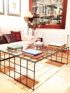 Industrial coffee table. handmade. steel and glass by SeisBarras