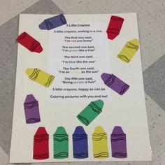 Finger Play 5 5 little crayon finger play Preschool Colors, Preschool Music, Teaching Colors, Preschool Literacy, Literacy Activities, Emergent Literacy, Preschool Ideas, Teaching Ideas, Kindergarten