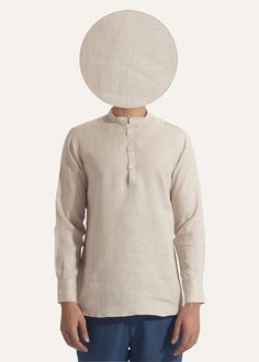 This Gheebutter mens shirt is handmade from a super fine linen. Watch it become even softer after each wash. Features mother of pearl buttons & nehru collar. Made in India.  If you are between sizes go for the larger of the two.