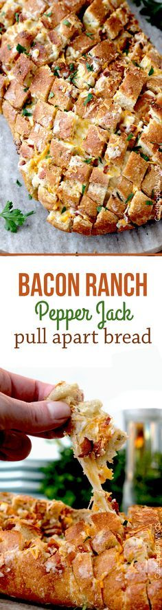 A crowd pleasing appetizer. Bacon Ranch Pepper Jack Pull Apart Bread - drenched in buttery ranch cream cheese then stuffed with bacon, sharp cheddar and pepper jack cheese. I Love Food, Good Food, Yummy Food, Tasty, Great Recipes, Favorite Recipes, Pull Apart Bread, Snacks Für Party, Football Food