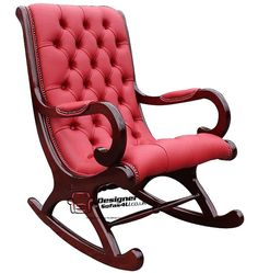 Chesterfield York Slipper Rocking Chair Red Leather, Leather Sofas, Traditional Sofas