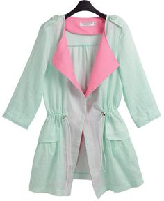 Green Half Sleeve Drawstring Two Pieces Coat - Sheinside.com