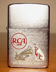 """1966 Zippo Lighter, featuring RCA and Nipper, """"His Master's Voice"""", Logos Cool Zippos, Zippo Usa, His Masters Voice, Zippo Lighter, Phonograph, Antique Shops, Vintage Lighting, Vintage Signs, Cigar"""