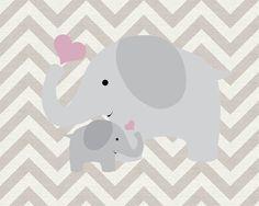 Parent and Child Elephant Nursery Art Decor by SweetLittleBarn, $14.99