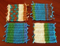 How to weave with drinking straws. Straw weave coasters by ethorart, via Flickr