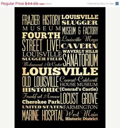 Louisville, Kentucky, Typography Art Poster / Transit / Subway Roll 18X24 - Louisville's Attractions Wall Art Decoration - LHA-216
