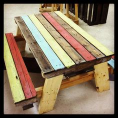 Here are a couple of great uses of pallets turned into Children's Picnic Tables.     #Garden, #PalletPicnicTable, #PalletTable, #RecyclingWoodPallets