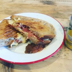 3 cheese and Prosciutto grilled sourdough for lunch? We're working hence the limonata...probably better with Txacoli. Come try. #grilledcheese #lunch #edinburgh #stockbridge #prosciutto #cheese