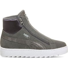 Puma Suede classic high-top trainers ($72) ❤ liked on Polyvore featuring men's fashion, men's shoes, men's sneakers, puma mens shoes, puma mens sneakers, mens white sneakers, mens grey suede shoes and mens sport shoes