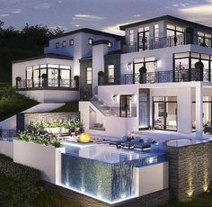 40 Stunning Mansions Luxury Exterior Design Ideas So far, we have sh. - 40 Stunning Mansions Luxury Exterior Design Ideas So far, we have shown you exterior de - Dream Home Design, Modern House Design, Glass House Design, Modern Style Homes, My Dream Home, Dream Mansion, White Mansion, Mansion Bedroom, Luxury Homes Dream Houses