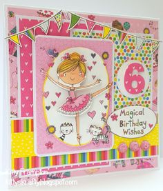 Made using Trimcraft Whiz Kids Collection. Craftwork Cards, Kids Cards, Birthday Wishes, I Card, Decoupage, Card Ideas, Kitty, Children, Girls