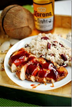 Jerk Chicken, Rice and Peas, with Corona Beer - Summer on a plate