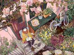 garden illustration Sho and Arriettys secret garden Cartoon Kunst, Anime Kunst, Cartoon Art, Anime Art, Art And Illustration, Magazine Illustration, Aesthetic Art, Aesthetic Anime, Secret World Of Arrietty