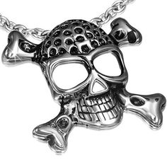 Jolly Roger Pirate Skull & Crossbones Stainless Steel Pendant Necklace