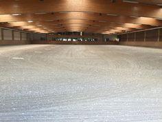 Projekt RSZ Unna Massen 03-09-2015 Wir tauschten in der Eventhalle (40,5x65) und dem kleinen Dressurplatz (20x60) nach 10 Jahren ca 10cm Tretschicht.  Die alte Tretschicht wurde entfernt und durch eine neue Tretschicht ausgetauscht.  Außerdem haben wir in der Eventhalle 2kg m² Geotextil in die Tretschicht eingearbeitet.  In einigen Wochen werden dann noch die neuen Reithallenspiegel in der Eventhalle montiert.